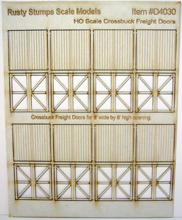 HO Scale Laser cut 8x8 Fancy Freight Doors