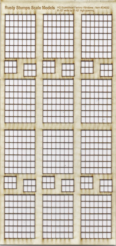 HO Scale 7x7 Thin Frame Factory Style Windows