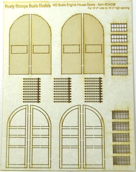 HO Round Top Engine House Doors 12x18