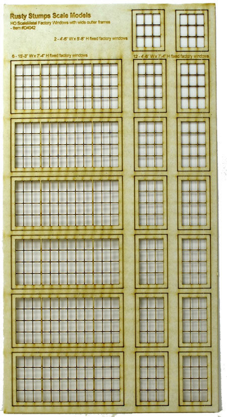 HO Scale Metal Factory Window Assortment
