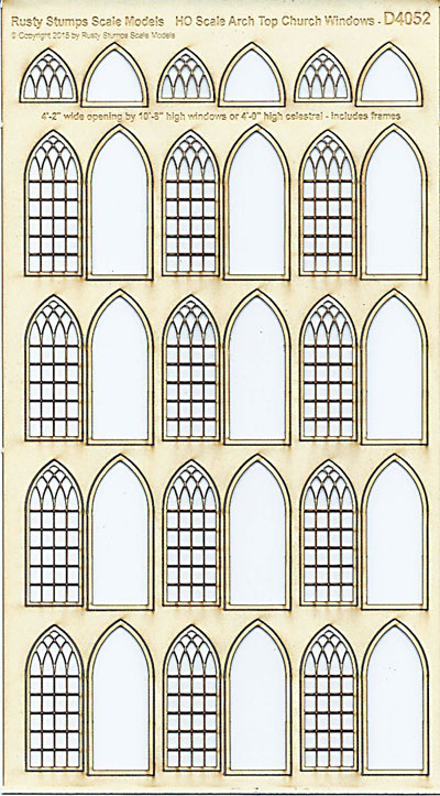 HO Scale Arched Church WIndows 4' wide