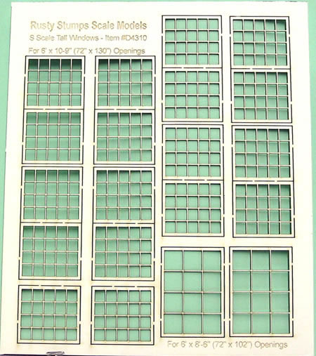 S Scale Tall Factory Windows