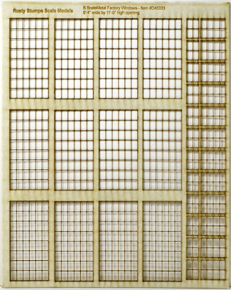 S Scale 6x8 Thin Frame Factory Style Windows