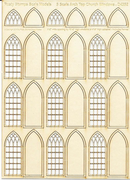 S Scale Arched Church WIndows 4' wide