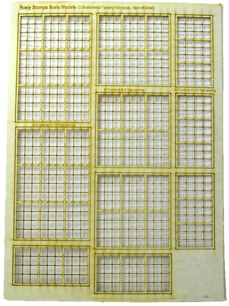 O Scale 3 sizes~same width Factory Windows
