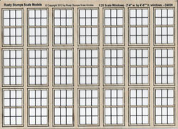 1:25 Scale Double Hung Windows for 2ft~6in x 4ft~6in opening