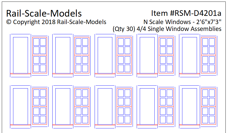 N Scale 4 over 4 Single Window Assemblies 2ft 6in x 7ft 3in