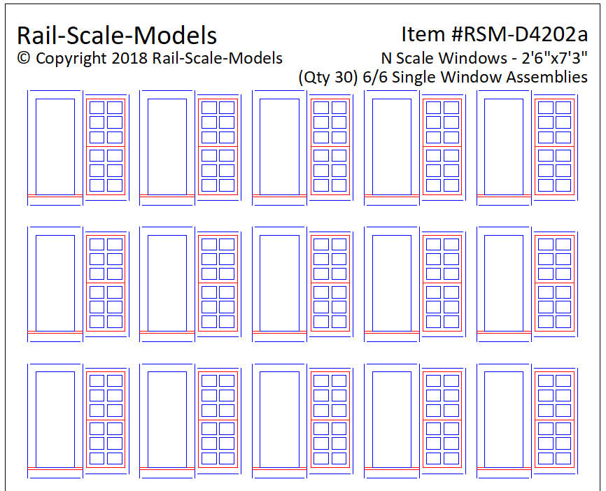 N Scale 6 over 6 Single Window Assemblies 2ft 6in x 7ft 3in