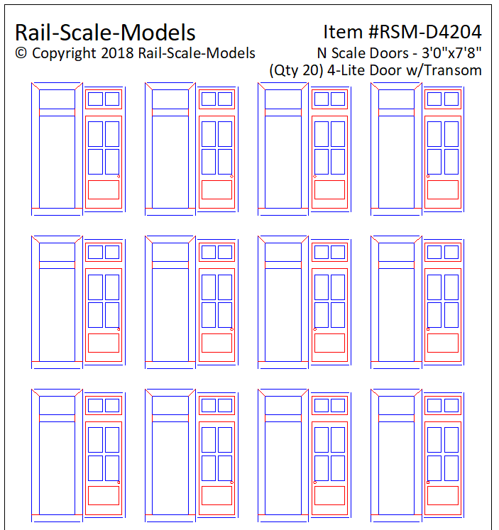 N Scale 4 Lite Door Assemblies with Transom 3ft 0in x 7ft 8in