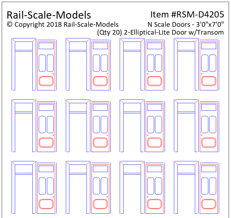 N Scale 2 Elliptical Lite Door Assemblies with Transom 3ft 0in x 7ft 0in