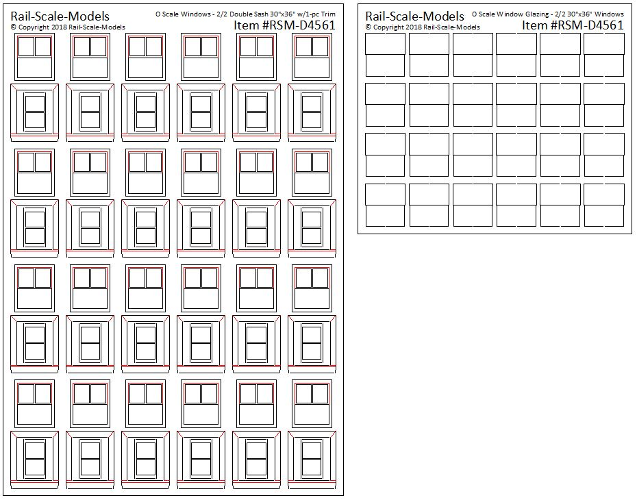O Scale Double Hung Windows for 2ft~6in W x 3ft H Opening
