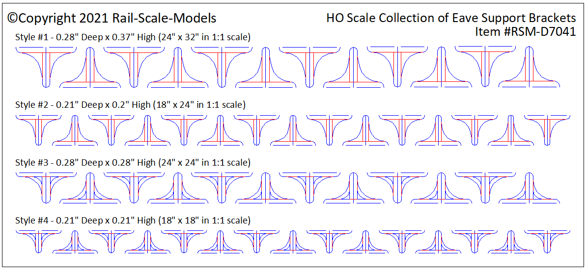 HO Scale Collection of Eave Support Brackets