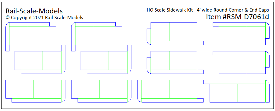 HO Scale Sidewalk Round Corners and End~Caps @ 4ft wide