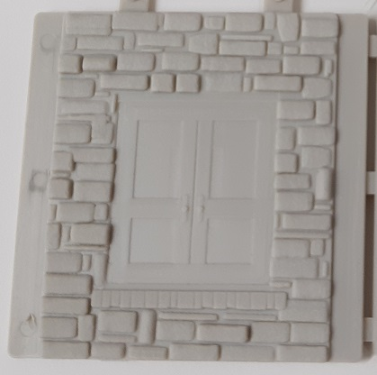Stone Wall Section with Embedded Freight Doors ~ HO Scale