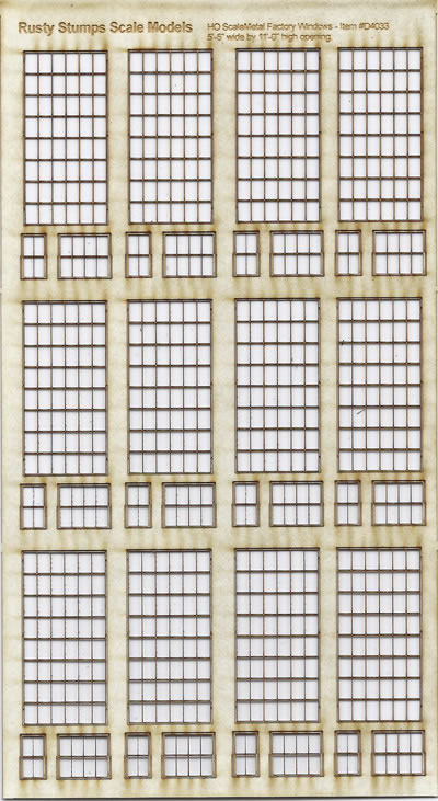 HO Scale 6x8 Thin Frame Factory Style Windows