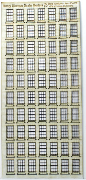 HO Scale 28 inch Wide Double Hung Sash Windows