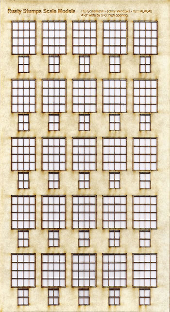 HO Scale 4x4 Thin Frame Factory Style Windows