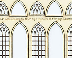 N Scale Arched Church WIndows 4' wide