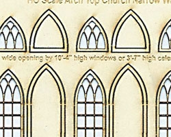 N Scale Arched Church WIndows 3' wide