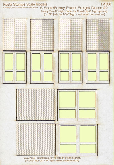S Scale Fancy Panel Freight Doors 6 ft wide