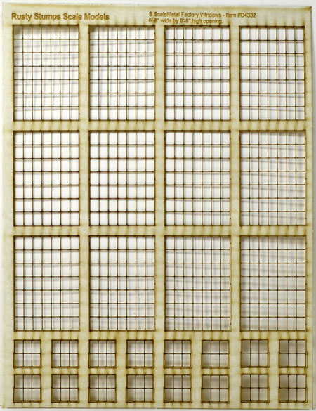 S Scale 7x7 Thin Frame Factory Style Windows