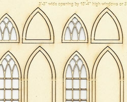 S Scale Arched Church WIndows 3' wide