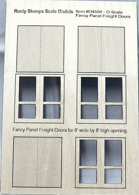 O Scale Fancy Panel Freight Doors 8 ft wide