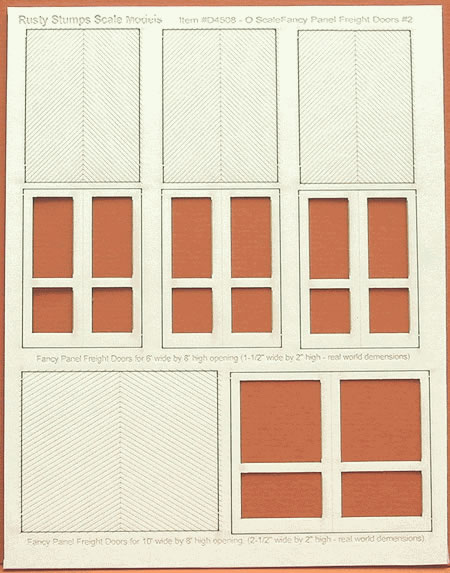 O Scale Fancy Panel Freight Doors 6 ft wide