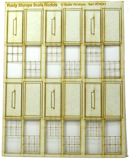 O Scale 6 over 6 Double Hung Built Up Windows