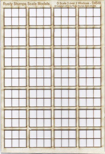 O Scale 3 over 2 Factory Thin Frame Windows