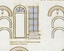O Scale Fancy Round Top Windows