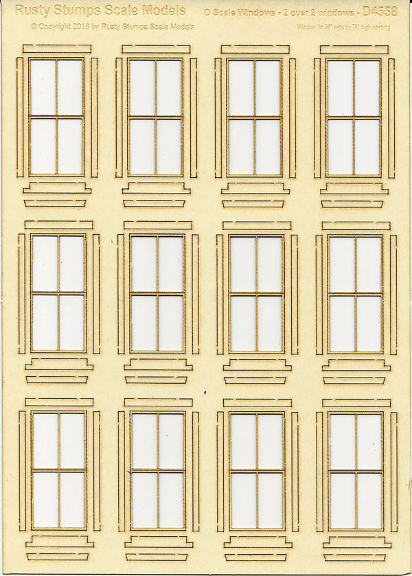O Scale 2 over 2 Double Sash Windows
