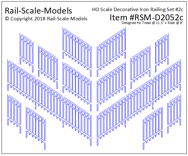 HO Scale Decorative Iron Railing Set 2 ~ Angular 11x8