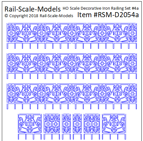 HO Scale Decorative Iron Railing Set 4 ~ Linear