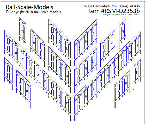 S Scale Decorative Iron Railing Set 3 ~ Angular 8x8
