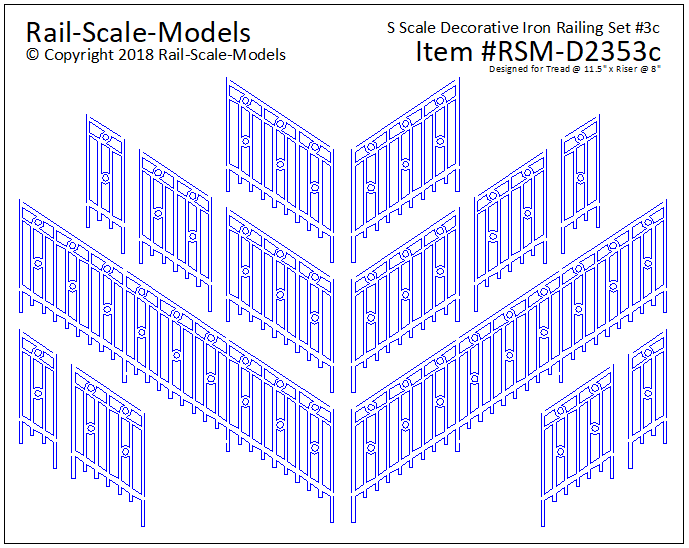 S Scale Decorative Iron Railing Set 3 ~ Angular 11x8