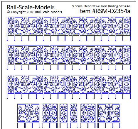 S Scale Decorative Iron Railing Set 4 ~ Linear