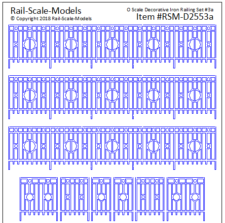 O Scale Decorative Iron Railing Set 3 ~ Linear