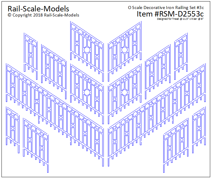 O Scale Decorative Iron Railing Set 3 ~ Angular 11x8