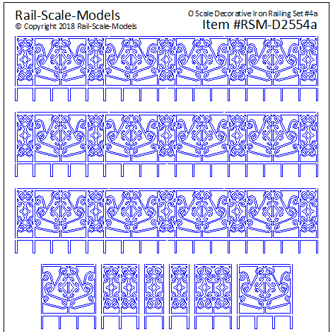 O Scale Decorative Iron Railing Set 4 ~ Linear