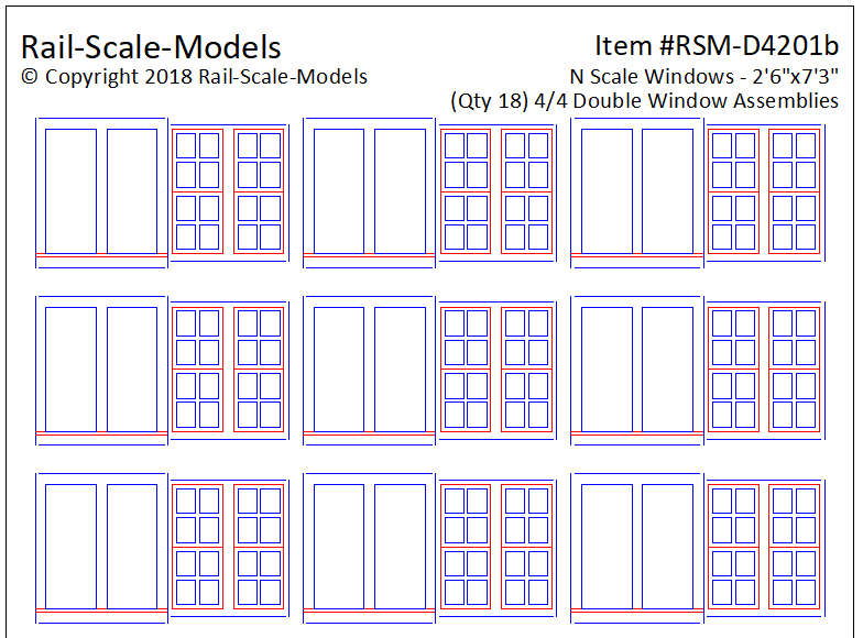N Scale 4 over 4 Double Window Assemblies 2ft 6in x 7ft 3in