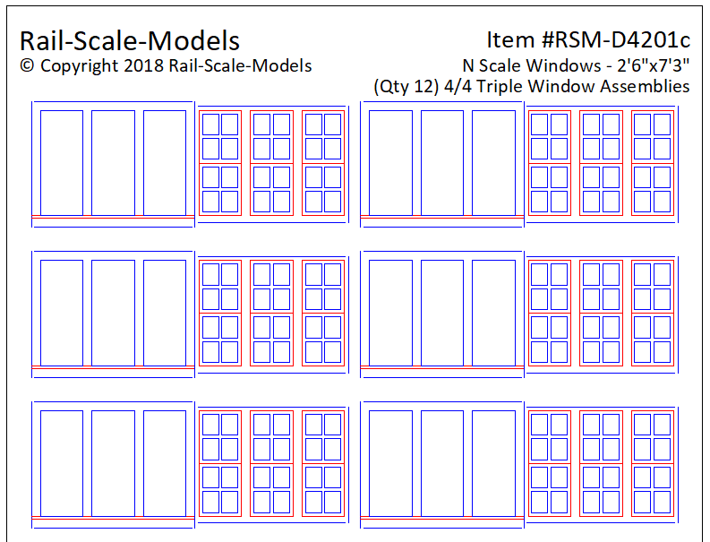 N Scale 4 over 4 Triple Window Assemblies 2ft 6in x 7ft 3in