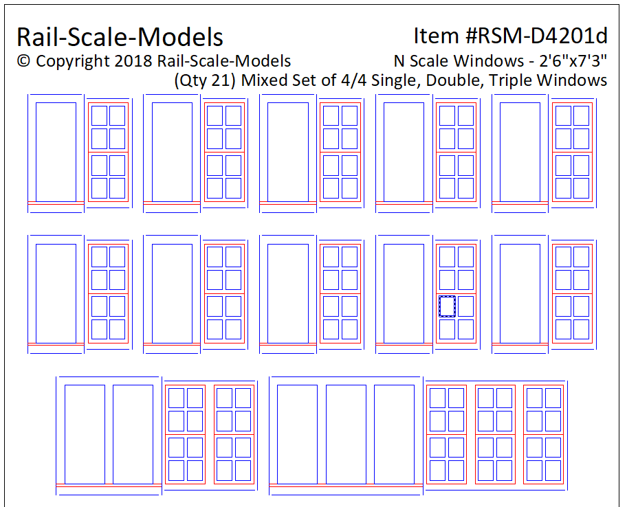 N Scale 4 over 4 Mixed Window Assemblies 2ft 6in x 7ft 3in
