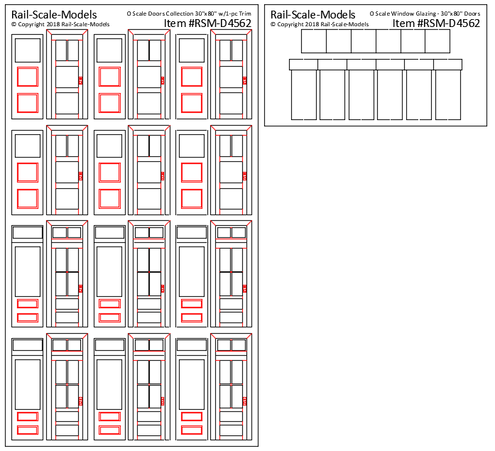 O Scale Collection of Doors 2ft~6in W x 6ft~6in H