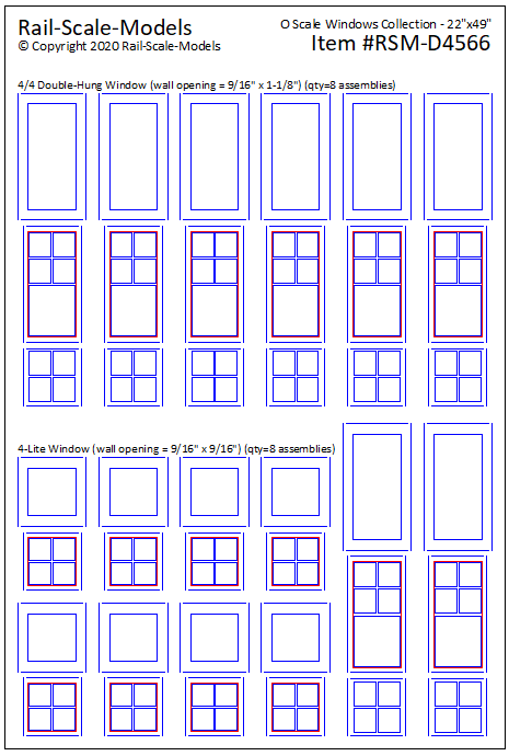 "O Scale Double Hung Framed Windows ~ 22""x49"""