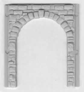 Stone Wall Section with Large Arch Bay Door Opening ~ HO Scale